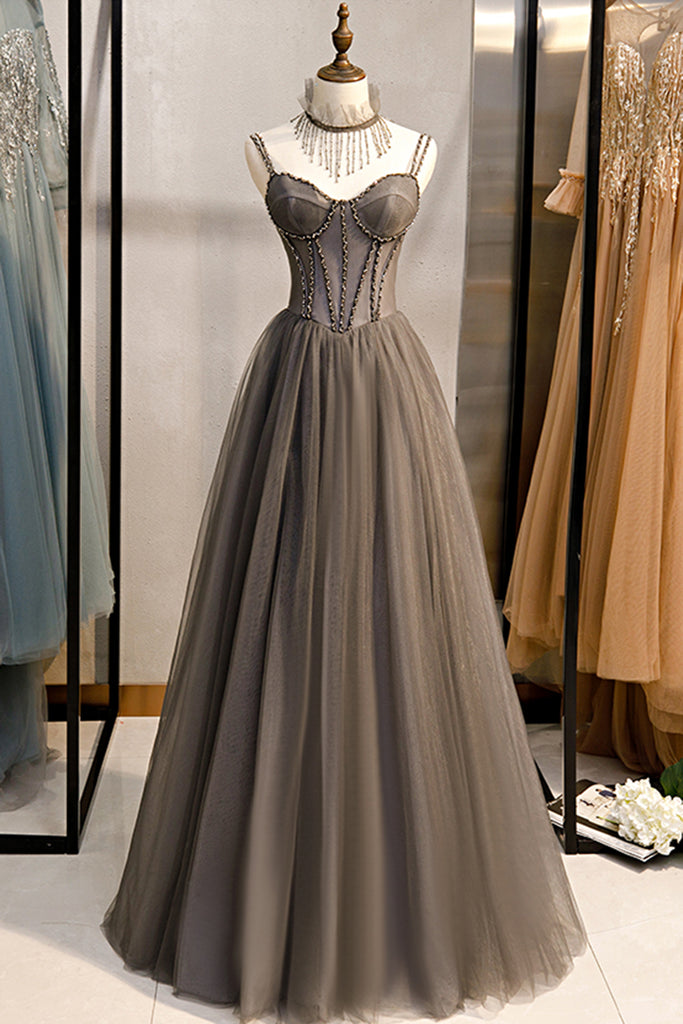 Grey Tulle Long Banquet Party Dress Sweetheart A Line Custom Size Prom Dress