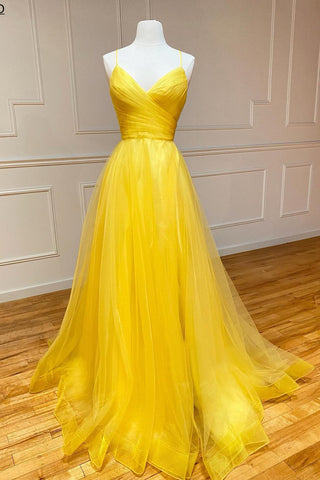 Yellow Tulle Spaghetti Straps Formal Evening Dresses Long Pleated A Line Prom Party Dress
