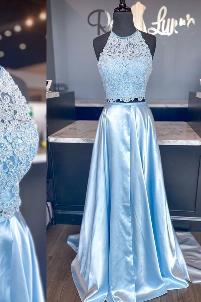 2021 Prom Dress 2 Pieces Sky Blue Floor Length Lace A-line Homecoming Dress