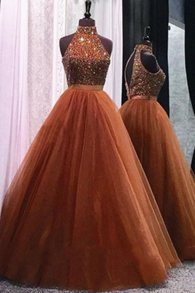 Elegant organza high neck beading open back  long ball gown dress, prom dresses - occasion dresses by Sweetheartgirls