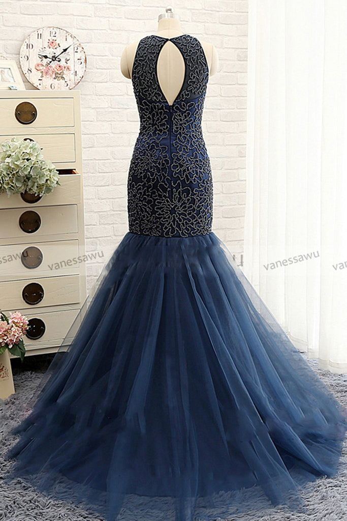 Deep Blue Satins Tull Mermaid Flower Pattern Open Back Long Evening