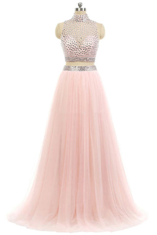 Prom 2020 | Elegant pink chiffon beading two pieces high neck A-line long prom dresses evening dresses