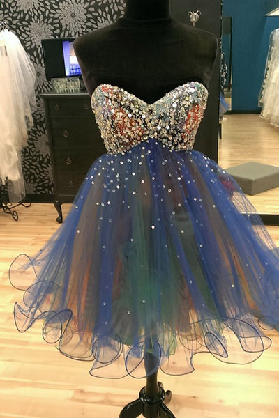 2019 Prom Dresses | Cute organza sweetheart sequins A-line short prom dresses,party dresses for teens