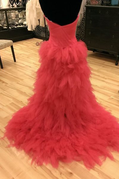 2019 Prom Dresses | Coral organza sexy sweetheart beading high low long prom dresses,evening dresses