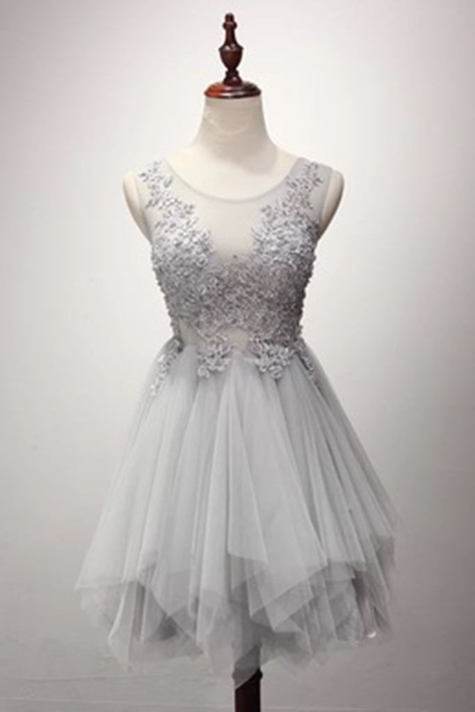 Silver organza layers round-neck see-through applique A-line short dress, new design formal prom dress - Sweetheartgirls