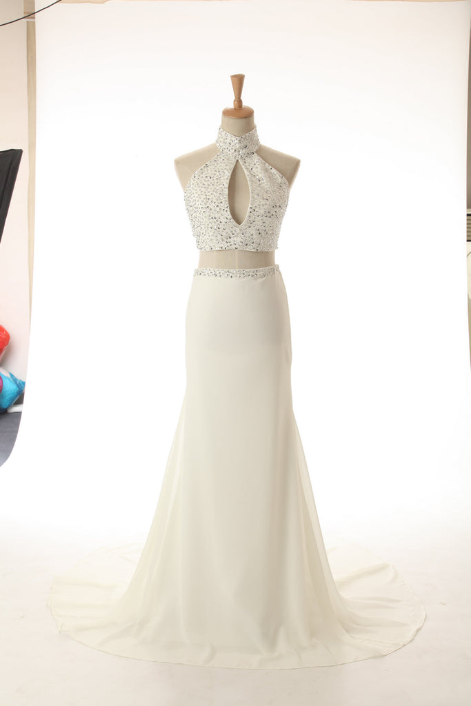 Sweet 16 Dresses | White chiffon halter sequins long dresses,charming evening dresses for prom