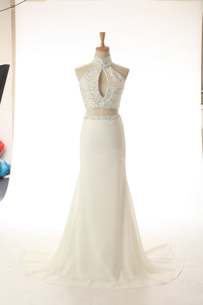 White chiffon halter sequins long dresses,charming evening dresses for prom - prom dresses 2018