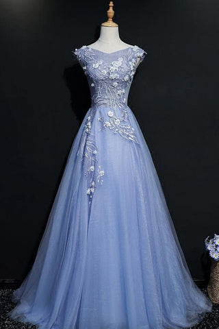 Blue tulle V neck embroidery long A-line cap sleeves halter spring prom dresses