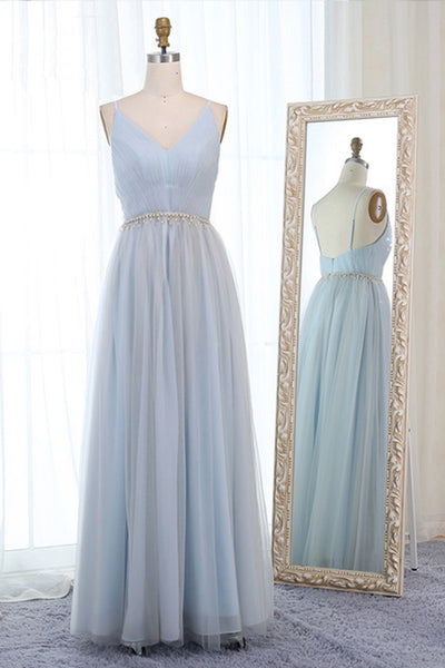 2019 Long Prom Dresses | Baby Blue Tulle Backless Long Simple Prom Dress, Evening Dress With Pearl