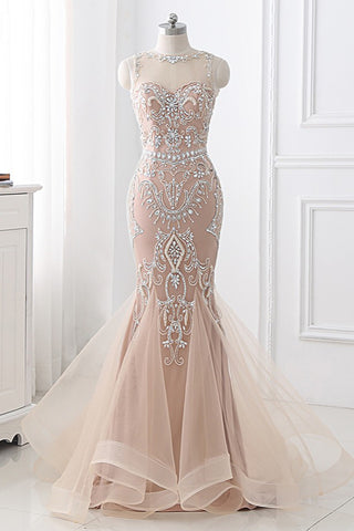 Light Champagne Tulle Beaded New Design Long Mermaid Prom Dress
