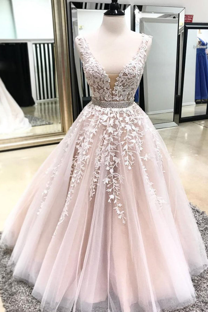 39def27d97 2019 Prom Dresses | Blush Pink V Neck Open Back Long Beaded Formal Prom  Dress With