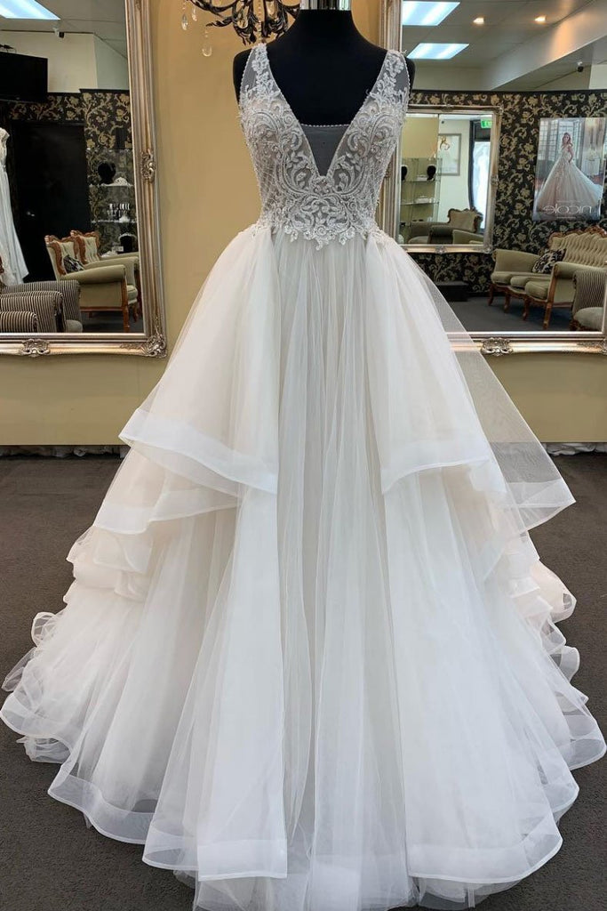 c466ded46b9 White Tulle Lace Custom Size Long Prom Dress