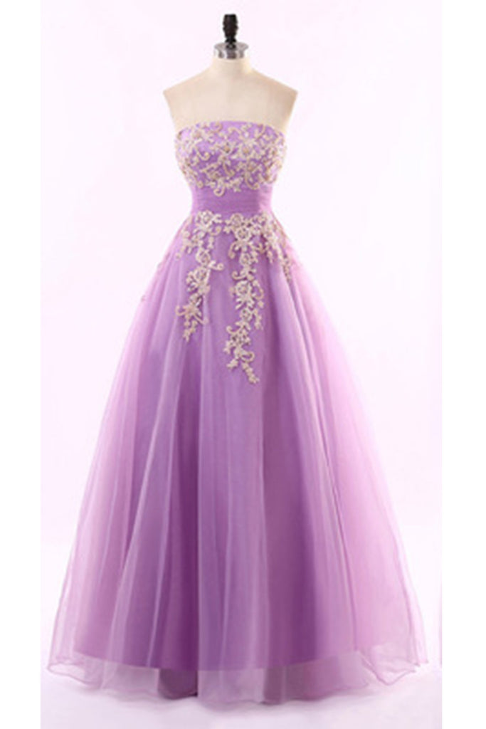 Lilac organza lace applique sweetheart long princess A-line prom dresses  evening dress - prom dresses 2018