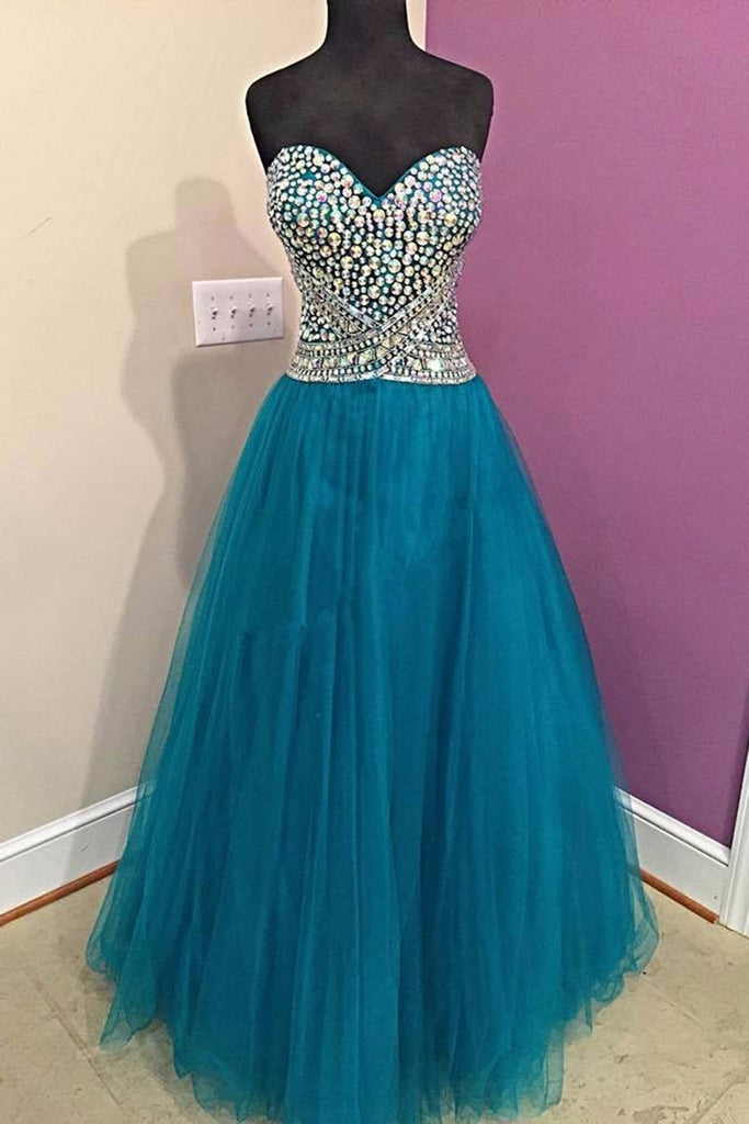 Prom 2020 | Blue tulle sweetheart rhinestone A-line long evening dresses,formal dresses