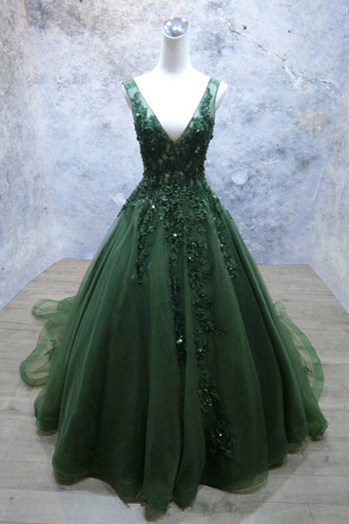 9039751b28d Dark Green Tulle Long Lace Appliques V Neck Prom Dress