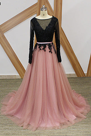 Pink Tulle Black Lace Long Formal Prom Dress, Long Sleeve Evening Dress