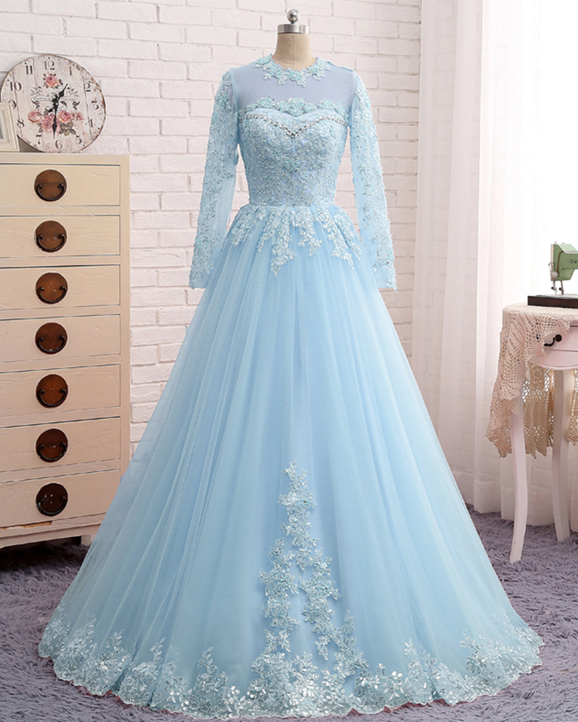 99dcc796f01c Ice Blue Beaded Prom Dress