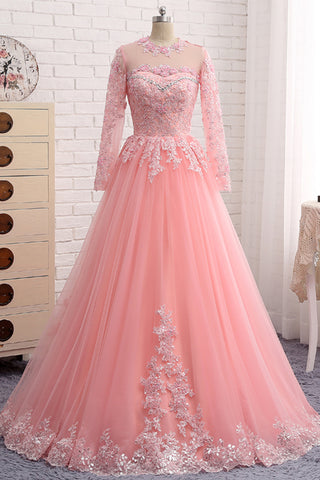 Pink Tulle Long Sleeve Formal Prom Dress, Evening Dress With Lace Applique