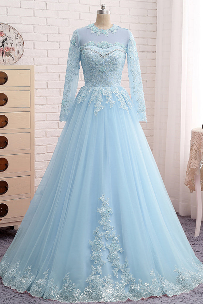 IceBlue Lace Tulle Long Sleeve Beaded Formal Prom Dress, Plus Size Dress