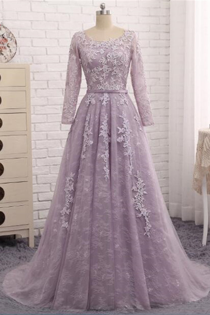 Spring Long Lace A Line Prom Dress Formal Dress With Long Sleeves