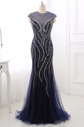 Navy Blue Beading Mermaid Cap Sleeve Women Prom Dress, Evening Dress