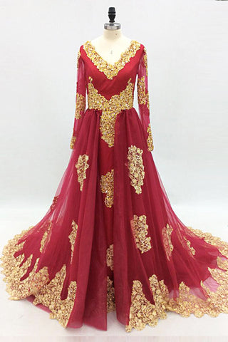 Sweet 16 Dresses | Burgundy Tulle Gold Lace Applique Long Arabic Prom Dress, Formal Dress