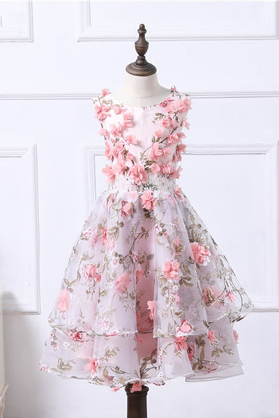 2019 Prom Dresses | Cute floral organza puffy girls dress with pink flower appliques