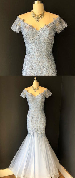 Sweet 16 Dresses | Blue gray tulle V neck long mermaid lace evening dress, long formal prom dress