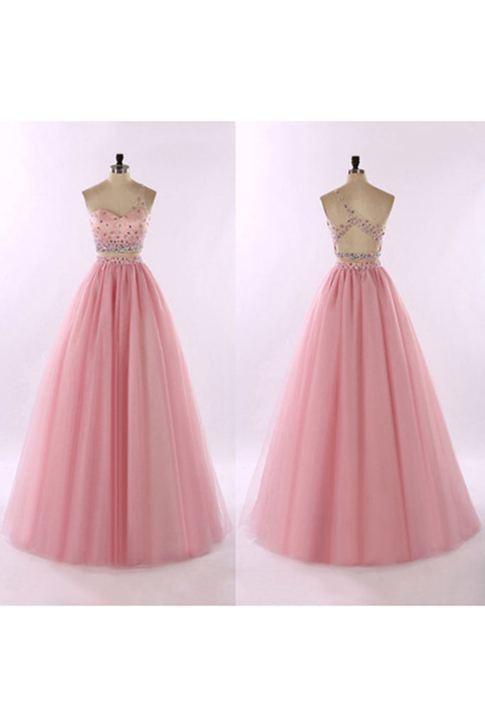 2bace8fae553 Sweet 16 Dresses   Pink tulle one shoulder beading full-length A-line prom