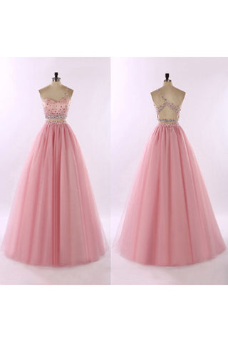 Pink tulle one shoulder beading full-length A-line prom dresses ball gown lady's dresses - Sweetheartgirls