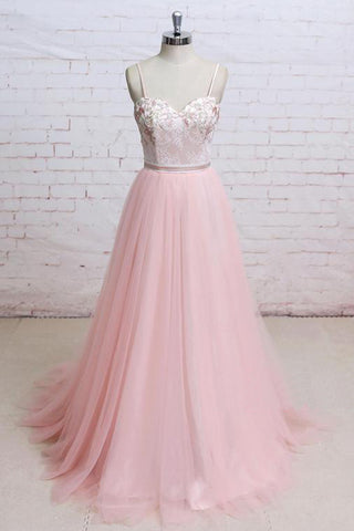Pink Flora Lace Spaghetti Straps A Line Tulle Evening Dress Open Back Prom Dress