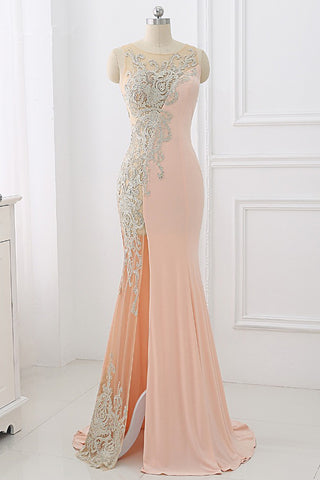 Pink Illusion Mermaid Evening Dress, Side Seam Prom Dress With Applique