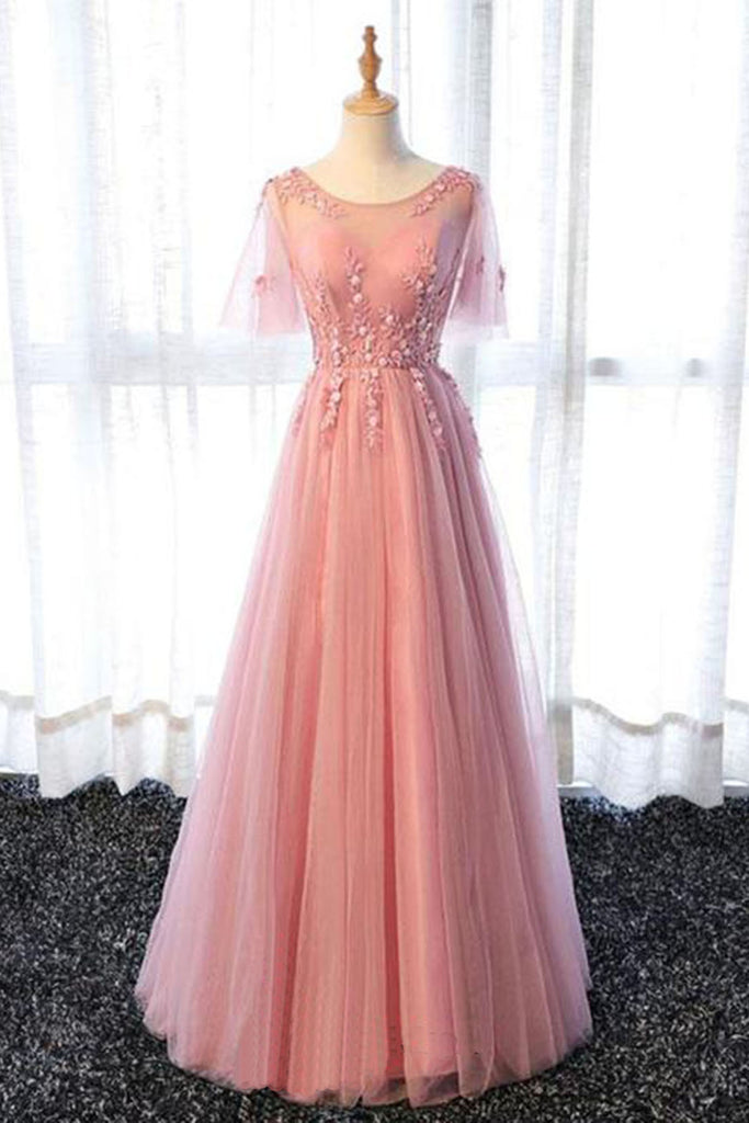 Pink tulle scoop neck long senior prom dress with sleeves, long ...