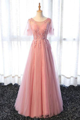 Pink tulle scoop neck long senior prom dress with sleeves, long appliques evening dress