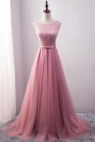 Pink Lace Long A Line Beaded Senior Prom Dress Long Tulle Evening