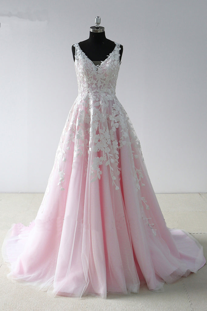 2019 Long Prom Dresses | 2019 Pink Tulle V Neck Long A Line Senior Prom Dress With Lace Applique