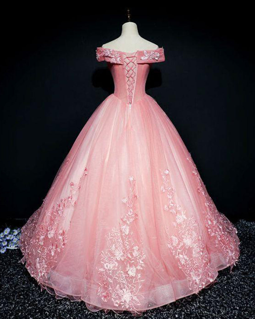 Pink organza floor length V neck off shoulder winter formal prom ...