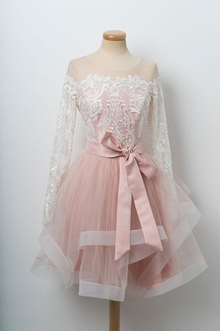 Pink tulle short sash prom dress, homecoming dress with long sleeve
