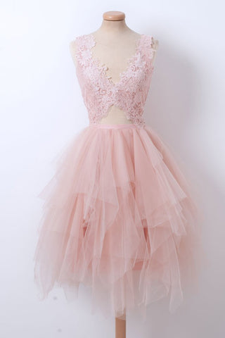 Pink tulle V neck layered short prom dress, lace short party dress