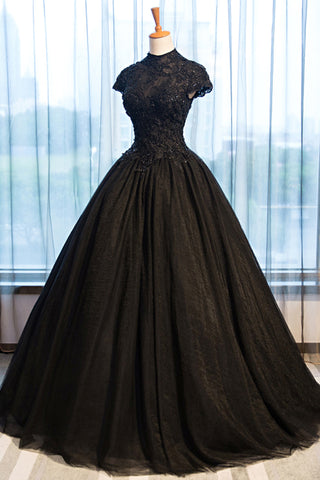 Sweet 16 Dresses | Black tulle cap sleeve long open back prom dress, black tulle evening dress