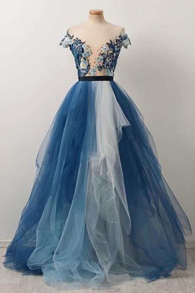 Sweet 16 Dresses | Blue and white tulle V neck cap sleeve long evening dress, prom dress