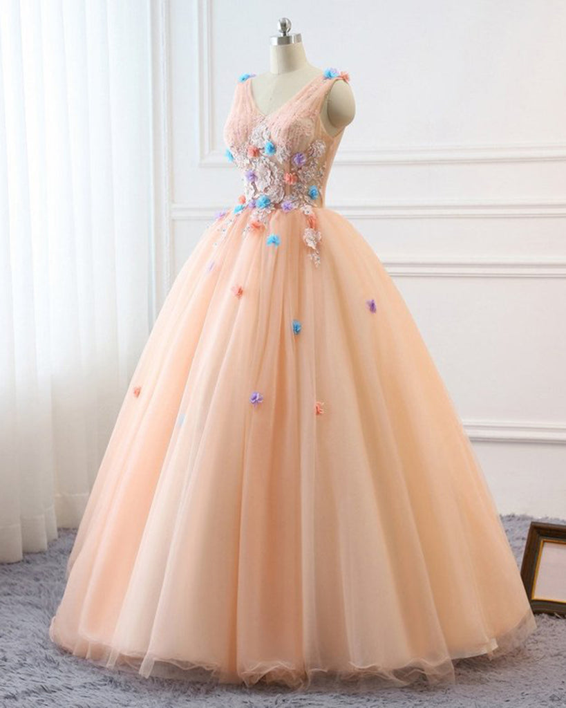 235ccccd270 Prom Ball Gown Plus Size Long 2018 Women Formal Dresses Tulle Orange Pink flowers Quinceanera Dress Masquerade Prom Dress Wedding Bride Gown 1024x1024.jpg v  ...