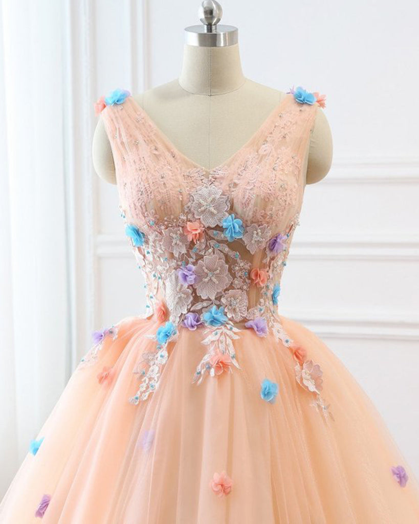 aeca874ca7 Peach Pink Tulle V Neck Custom Made Long Quinceanera Dress