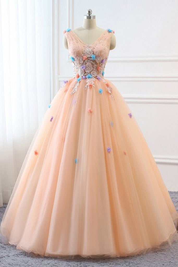 511d34a62 Peach Pink Tulle V Neck Custom Made Long Quinceanera Dress ...