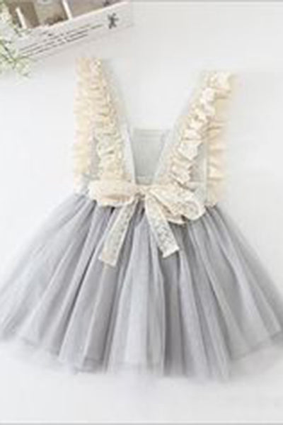 Gray tulle lace bowknot short dresses with straps,  cute girls dress - Sweetheartgirls