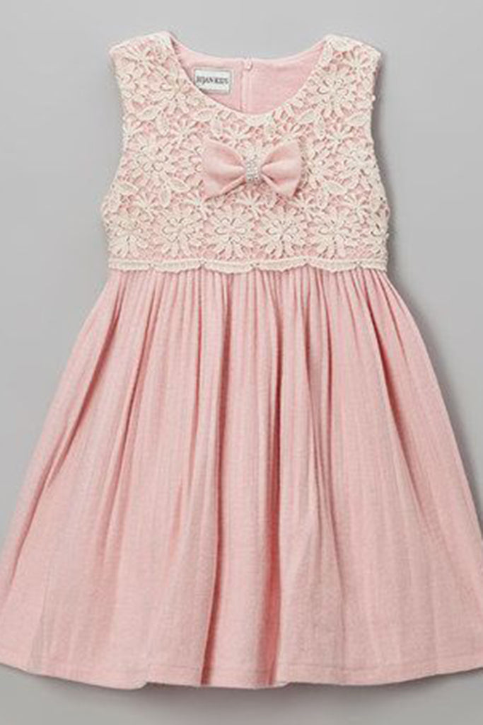 Baby pink chiffon lace round neck bowknot dresses,  cute girls dress - Sweetheartgirls