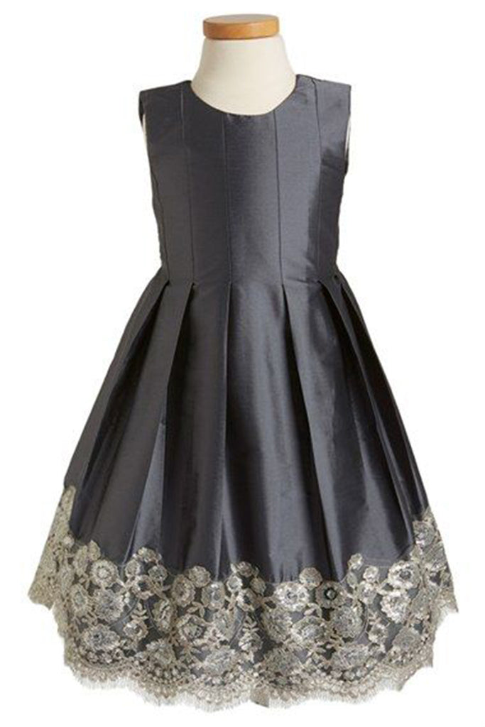 Prom 2020 | Black satins round neck A-line lace  dresses,  cute girls dress