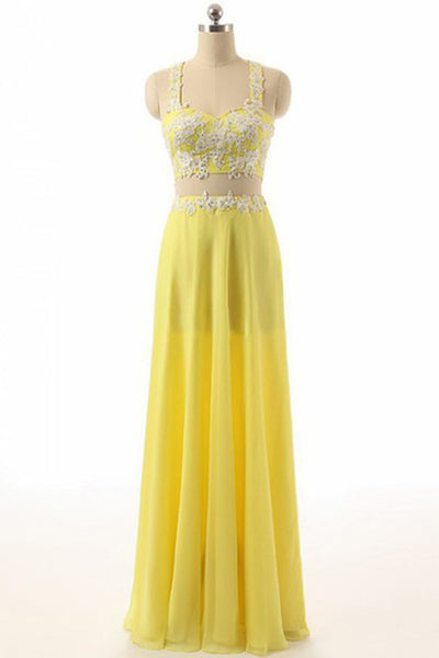 Yellow chiffon two pieces lace applique long prom dresses,beautiful evening dresses - Sweetheartgirls