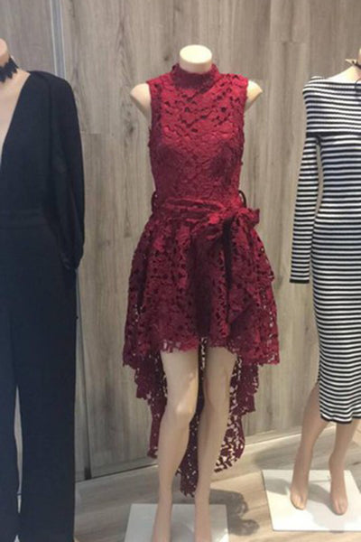 Prom 2020 | Burgundy lace O-neck sash long prom dresses,high-low evening dresses