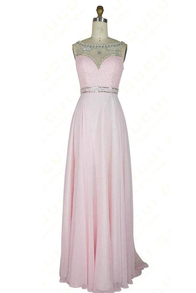 Pink Chiffon Sequins Beading Round Neck See Through A Line Long Prom